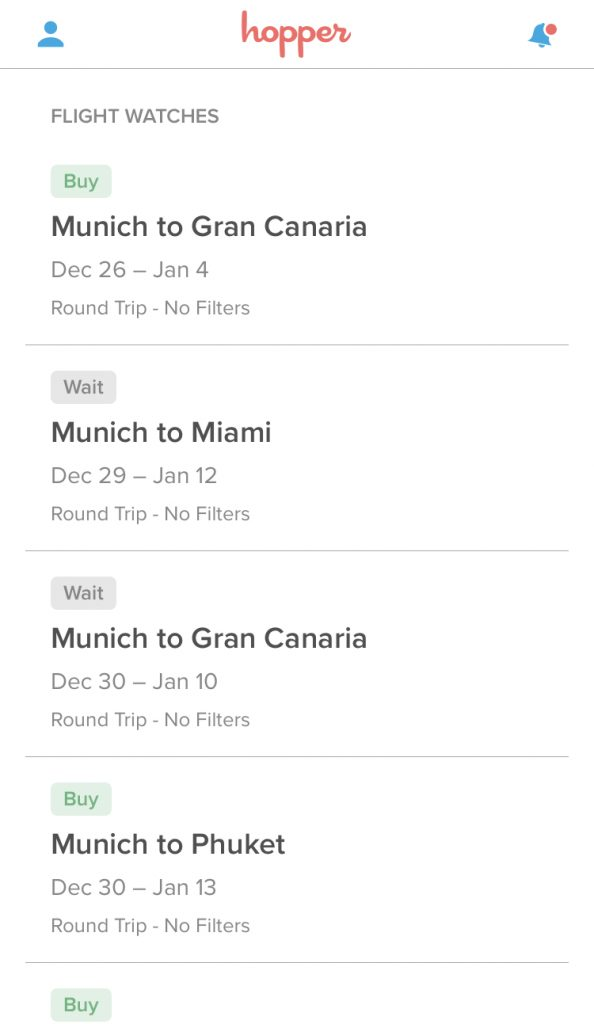 Find cheapest flight with hopper