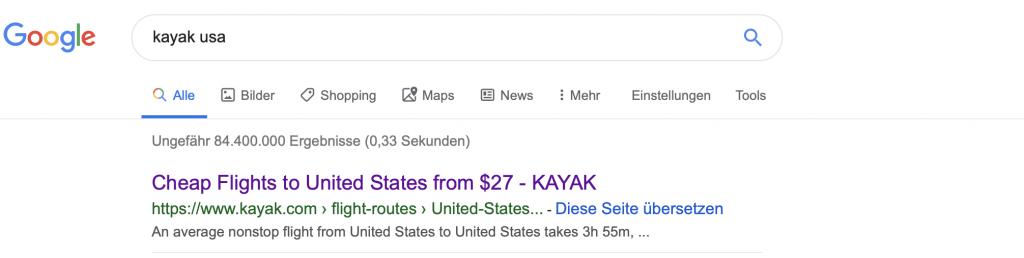 Kayak Flight Search Engine